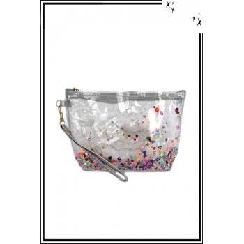 Trousse de sac à main - Perles plates - Brillant - Gris