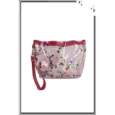Trousse de sac à main - Perles plates - Brillant - Rose