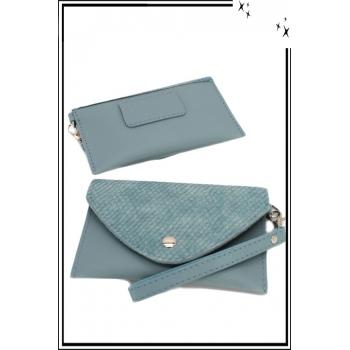 Pochette - Portefeuille - Monnaie - Rabat écailles - Bleu gris