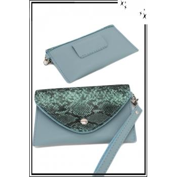 Pochette - Portefeuille - Monnaie - Rabat python - Bleu gris