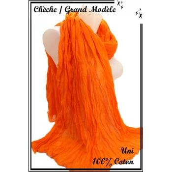 Chèche - Grand modèle - Coton - Uni - Orange