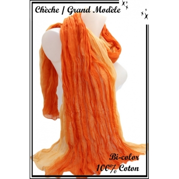 Chèche - Grand modèle - Coton - Bi-color - Orange / Beige