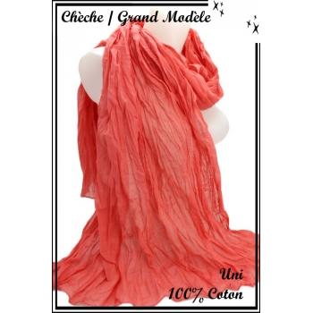 Chèche - Grand modèle - Coton - Uni - Saumon