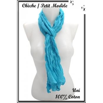 Chèche - Petit modèle - Coton - Uni - Bleu