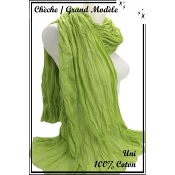 Chèche - Grand modèle - Coton - Uni - Vert prairie