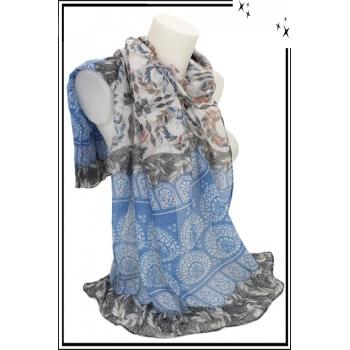 Foulard - Losanges - Frises - Feuilles - Bordure grise