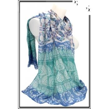 Foulard - Losanges - Frises - Feuilles - Bordure bleu