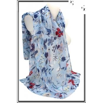 Foulard - Fleurs - Fond bleu