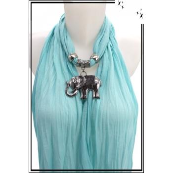 Foulard-bijoux - Bleu ciel - Eléphant