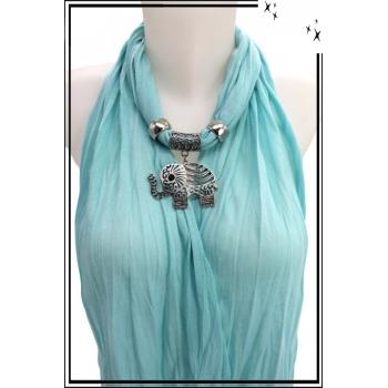 Foulard-bijoux - Bleu ciel - Eléphant ajouré