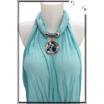Foulard-bijoux - Bleu ciel - Triple cercles - Perles + BIJOUX DORÉ OFFERT
