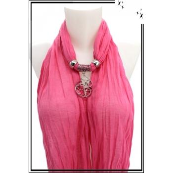 Foulard-bijoux - Rose - Forme diverse + BIJOUX DORÉ OFFERT