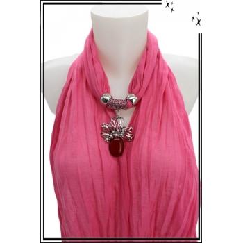 Foulard-bijoux - Rose - Feuilles - Grosse pierre bordeaux