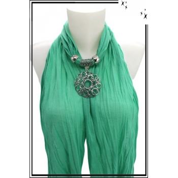 Foulard-bijoux - Vert menthe - Arbre de vie