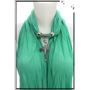 Foulard-bijoux - Vert menthe - Chat - Strass
