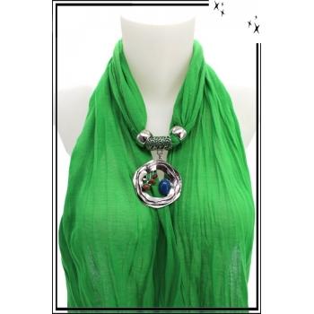 Foulard-bijoux - Vert - Triple cercles - Perles