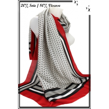Foulard - Touche de soie - Losanges / Rayures - Rouge / Gris