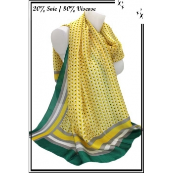 Foulard - Touche de soie - Losanges / Rayures - Jaune / Vert