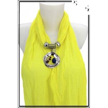 Foulard-bijoux - Jaune citron - Triple cercles - Perles + BIJOUX DORÉ OFFERT