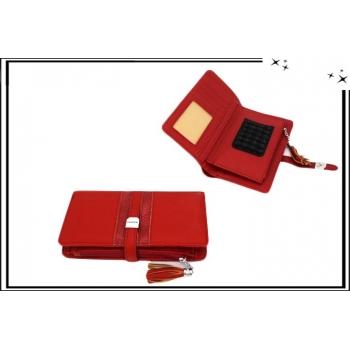 Portefeuille - Multi-compartiments - Ventouse pour portable - Fashion - Rouge
