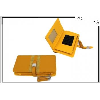 Portefeuille - Multi-compartiments - Ventouse pour portable - Fashion - Moutarde