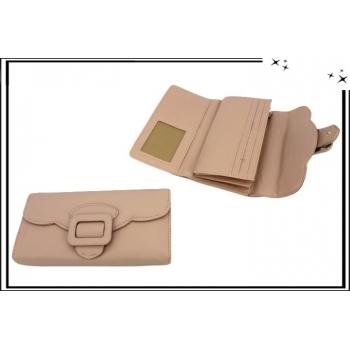Portefeuille - Multi-compartiments - Boucle de ceinture - Rose poudré