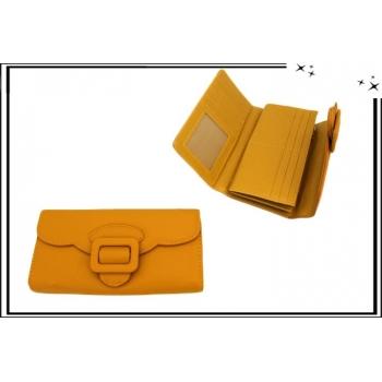 Portefeuille - Multi-compartiments - Boucle de ceinture - Moutarde