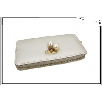 Porte-monnaie - Multi-compartiments - Pampilles perles nacrées - Nacré