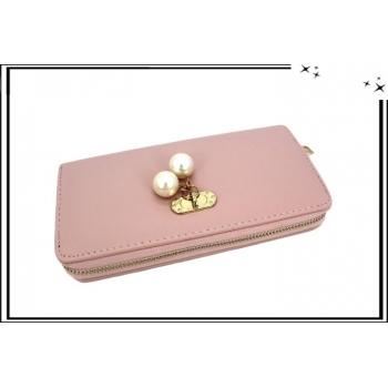 Porte-monnaie - Multi-compartiments - Pampilles perles nacrées - Rose poudré