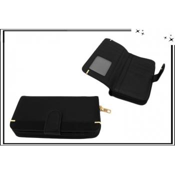 Portefeuille - Multi-compartiments - Touches dorées - Noir