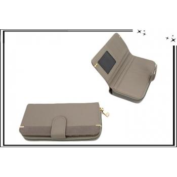 Portefeuille - Multi-compartiments - Touches dorées - Gris