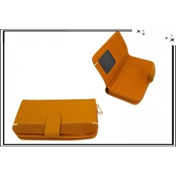 Portefeuille - Multi-compartiments - Touches dorées - Moutarde