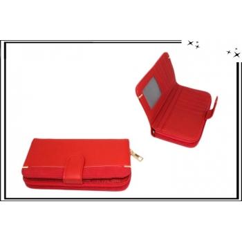 Portefeuille - Multi-compartiments - Touches dorées - Rouge