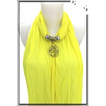 Foulard-bijoux - Jaune citron - Forme diverse + BIJOUX DORÉ OFFERT