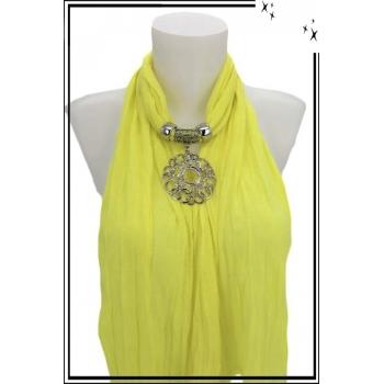 Foulard-bijoux - Jaune citron - Ronds entrelacés + BIJOUX DORÉ OFFERT
