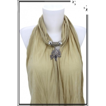 Foulard-bijoux - Beige - Arbre de vie + BIJOUX DORÉ OFFERT
