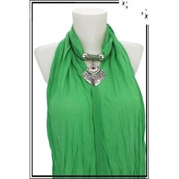 Foulard-bijoux - Vert clair - Losange ajouré - Pierre rouge + BIJOUX DORÉ OFFERT