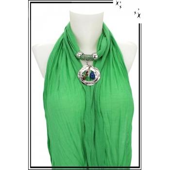 Foulard-bijoux - Vert clair - Triple cercles - Perles + BIJOUX DORÉ OFFERT