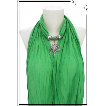 Foulard-bijoux - Vert clair - Arbe de vie + BIJOUX DORÉ OFFERT
