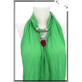Foulard-bijoux - Vert clair - Feuille - Grosse pierre bordeaux + BIJOUX DORÉ OFFERT