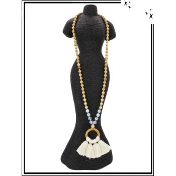 Sautoir - Perles en bois - Rond - Pompons - Blanc