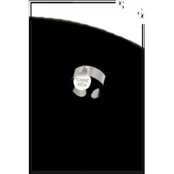 Bague - Réglable - Médaille - Carpe Diem - Argent