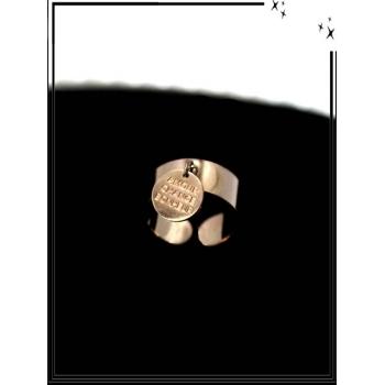 Bague - Réglable - Médaille - Amour / Chance / Bonheur - Cuivré