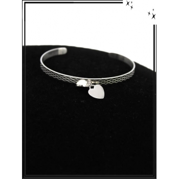Bracelet - Réglable - Double pampille - Coeur / Rond - Gravure - Argent