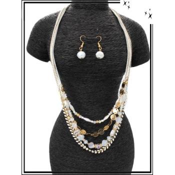 Parure - Multi-rangs - Perles losange - Blanc