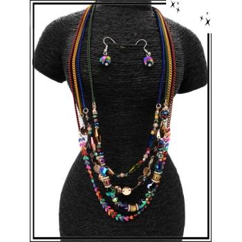 Parure - Multi-rangs - Perles losange - Multicolor pétrole