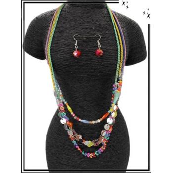 Parure - Multi-rangs - Perles losange - Multicolor