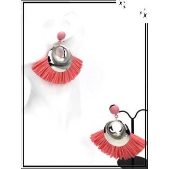 Boucles d'oreilles - Rafia - Argent / Rose