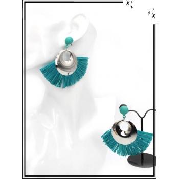 Boucles d'oreilles - Rafia - Argent / Turquoise