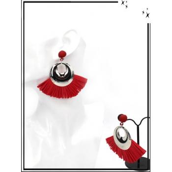 Boucles d'oreilles - Rafia - Argent / Rouge